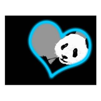 Panda-Liebe. Neonlicht Postkarte