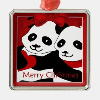 Panda-Liebe-Paar-Weihnachtsprämien-Verzierung Quadratisches Silberfarbenes Ornament