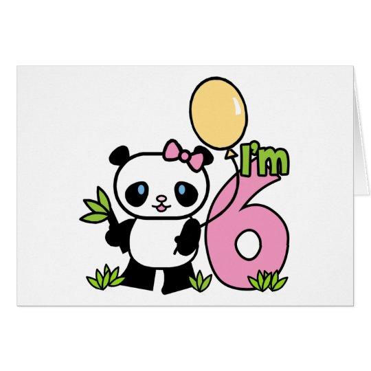 Panda-Mädchen-6. Geburtstags-Einladungen Mitteilungskarte