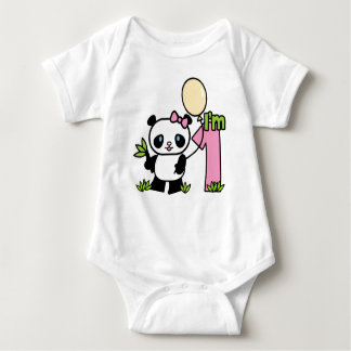 Panda-Mädchen-erster Geburtstag Baby Strampler