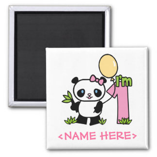 Panda-Mädchen-erster Geburtstag Quadratischer Magnet
