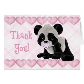 Panda mit Schnuller-Rosa-Herzen danken Ihnen zu Karte