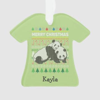 Panda-Tier-frohe Weihnacht-hässliche Strickjacke Ornament