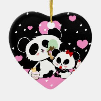 Pandabär Picknickschwarzrosa-Herzen kawaii Keramik Ornament