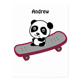 Pandareiten auf Skateboard Postkarte