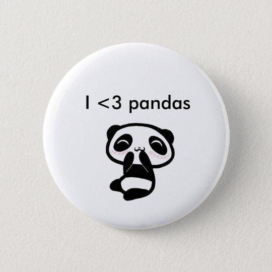 Pandas I <3 Runder Button 5,7 Cm