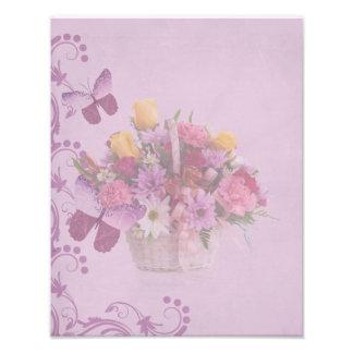 Panier des fleurs et des papillons tirage photo