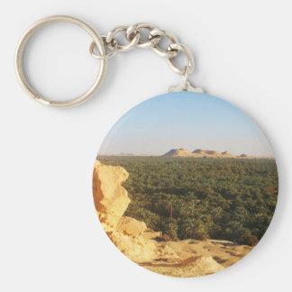 Panoramablick der Palmen-Gärten in Siwa Oase Standard Runder Schlüsselanhänger