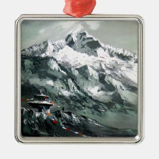Panoramablick niedrigen Lagers Everest Silbernes Ornament