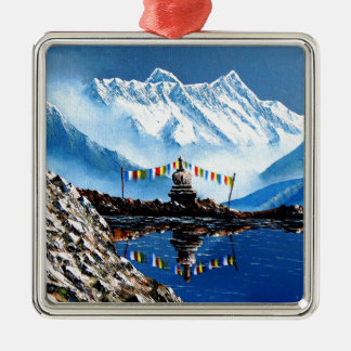 Panoramablick von Annapurna Berg Nepal Silbernes Ornament