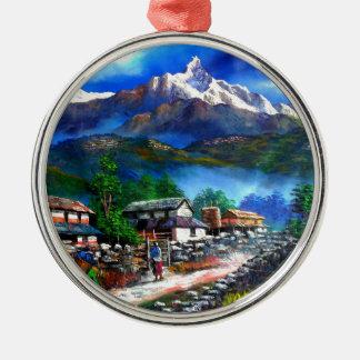 Panoramablick von Everest-Berg Nepal Silbernes Ornament
