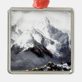 Panoramablick von Everest-Berg Silbernes Ornament