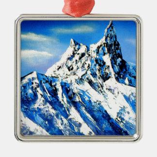 Panoramablick von Everest-Bergspitze Silbernes Ornament
