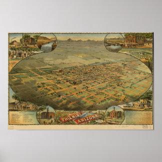 Panoramische Karte Phoenix Arizona 1885 Poster
