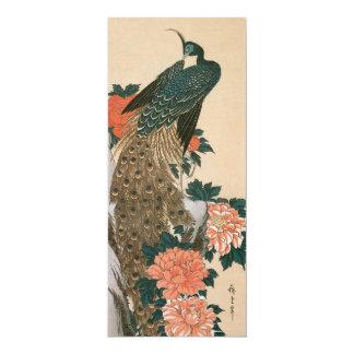 Paon et pivoines par Hiroshige, art japonais Carton D'invitation 10,16 Cm X 23,49 Cm