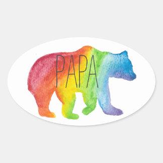 Papa-Bärn-Aquarell-Familien-Stolz-Aufkleber Ovaler Aufkleber