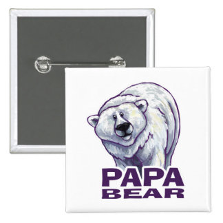 Papa-Eisbär Quadratischer Button 5,1 Cm