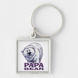 Papa-Eisbär Silberfarbener Quadratischer Schlüsselanhänger