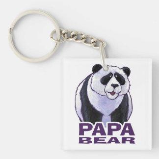 Papa-Panda-Bär Einseitiger Quadratischer Acryl Schlüsselanhänger