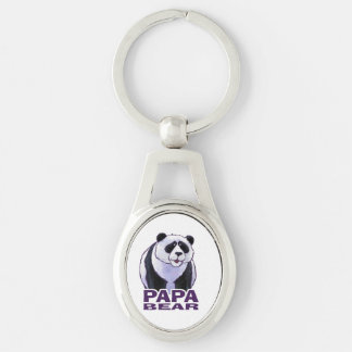 Papa-Panda-Bär Silberfarbener Oval Schlüsselanhänger