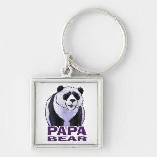 Papa-Panda-Bär Silberfarbener Quadratischer Schlüsselanhänger