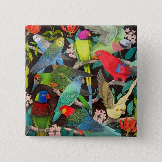 Papageien der Welt II Quadratischer Button 5,1 Cm