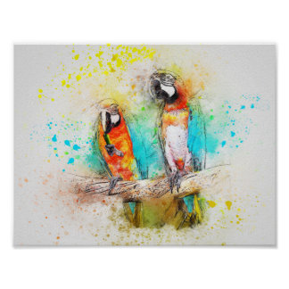 Papageien im Aquarell Poster