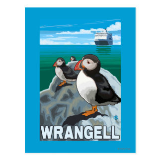 Papageientaucher u. Kreuzschiff - Wrangell, Alaska Postkarte