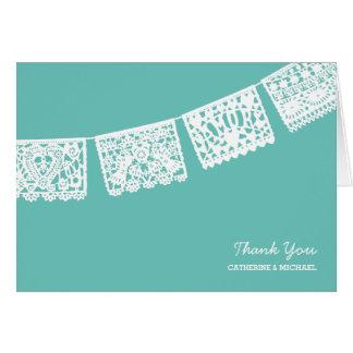 Papel Picado Aqua Wedding | danken Ihnen zu Mitteilungskarte
