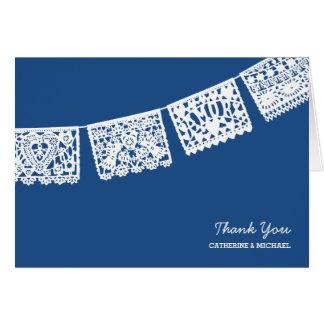 Papel Picado Blau Wedding | dankt Ihnen zu Mitteilungskarte