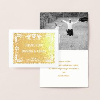 Papel picado Hochzeit danken Ihnen Fotogold Folienkarte