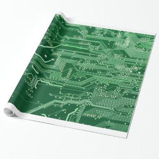 Papier Cadeau motif vert d'ordinateur de bord de circuit