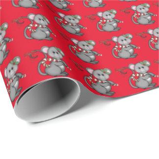 Papier d'emballage de vacances de souris de Noël Papier Cadeau Noël
