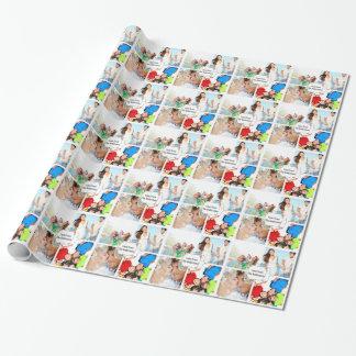 Papier d'emballage personnalisé de photo de papier cadeau noël