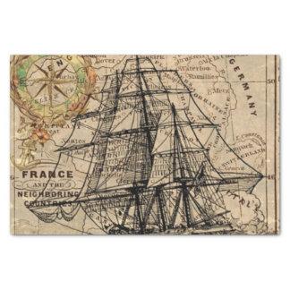 Papier Mousseline Carte vintage et bateau