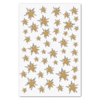 Papier Mousseline Noël d'argent d'or d'étoile de flocon de neige de