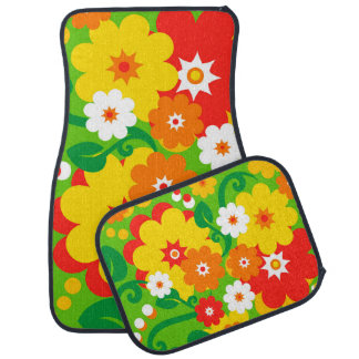 Papier peint drôle de flower power tapis de voiture