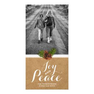 Papier Pinecones de photo de souhaits de Noël de Photocarte Customisée