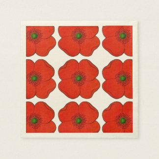 Papierservietten mit rotem Blumenentwurf