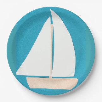 PapierTeller mit Segelboot-Entwurf
