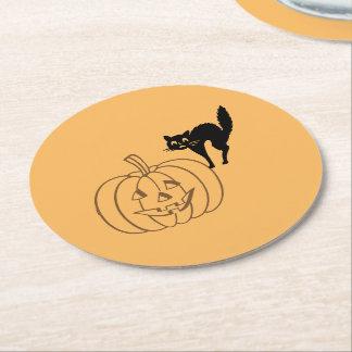 PapierUntersetzer - Kürbis und schwarze Katze Runder Pappuntersetzer