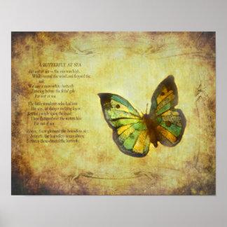 Papillon avec la copie de toile de poème poster