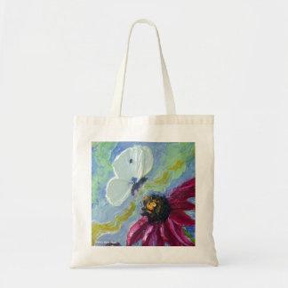 Papillon blanc et fleurs pourpres de cône sac en toile budget