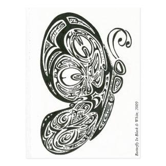 Papillon dans noir et blanc, 2009 carte postale