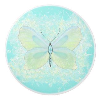 Papillon d'Aqua et de chaux avec le corps orné de Bouton De Porte En Céramique