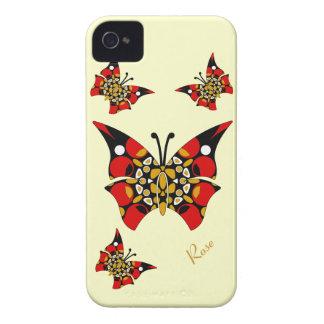 Papillons rouges mignons Blackberry de noir d'or Étui iPhone 4