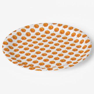 Pappteller - orange Calendula in den Reihen