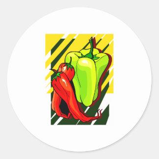 Paprikaschoten-Chili und -GELB auf gelbem BG Runder Aufkleber