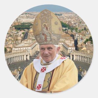Papst Benedikt XVI. mit der Vatikanstadt Runder Aufkleber