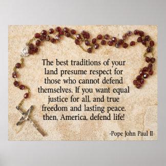 Papst John Paul verteidigen das Leben Poster